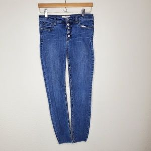 Free People Button Fly Raw Hem Skinny Jeans